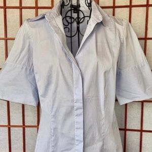 Ann Taylor Stretch Pinstripe Classic Career Blouse